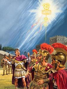 Constantine's Vision of the Christian Cross before the Battle of the Milvian Bridge by Roger Payne