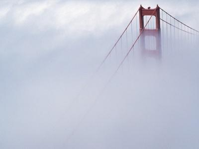 Golden Gate Bridge Tower Surrounded by Fog