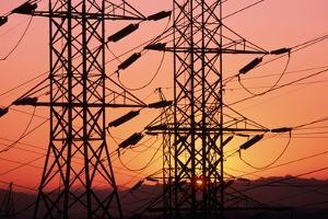Sunset Behind Electrical Towers by Roger Ressmeyer