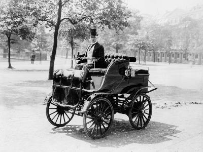 Roger Wallace in His Electric Car, 1899--Photographic Print