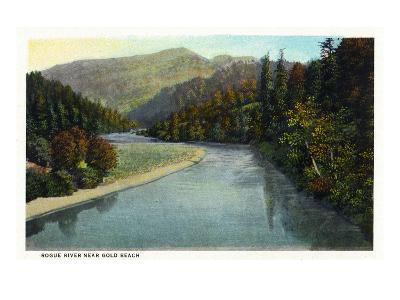 Rogue River, Oregon - River Scene Near Gold Beach-Lantern Press-Art Print