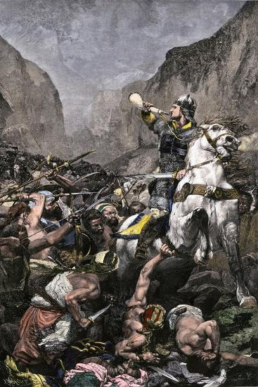 Roland Blowing His Warhorn in Battle Against the Saracens at Roncesvalle, 789 AD--Giclee Print