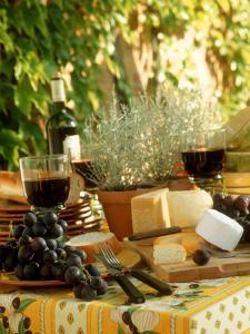 Buffet with Cheese and Grapes by Roland Krieg