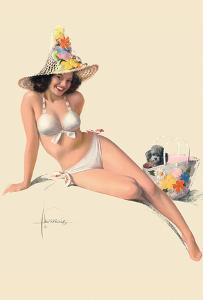She's Tops! - Famous Pin-Up Model Jewel Flowers by Rolf Armstrong