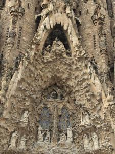 Carvings on Facade of Sagrada Familia Temple, UNESCO World Heritage Site, Barcelona, Spain by Rolf Richardson