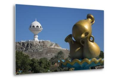 Golden Sculpture on Road Roundabout and Incense Burner (Riyam Monument), Muscat, Oman, Middle East
