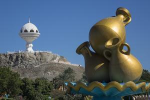 Golden Sculpture on Road Roundabout and Incense Burner (Riyam Monument), Muscat, Oman, Middle East by Rolf Richardson