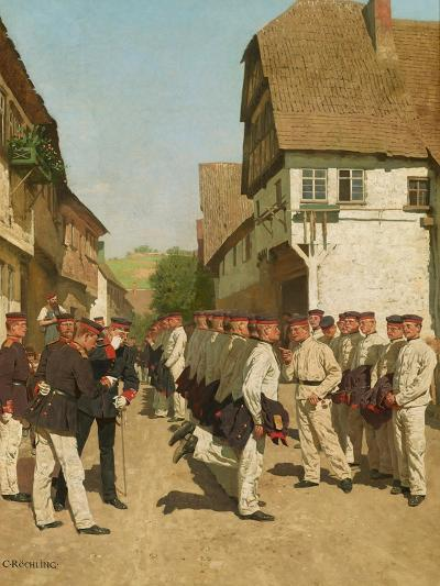 Roll-Call During on Maneuvers, before 1894-Carl Rochling-Giclee Print