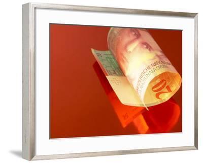 Rolled Twenty Franc Swiss Banknote--Framed Photographic Print