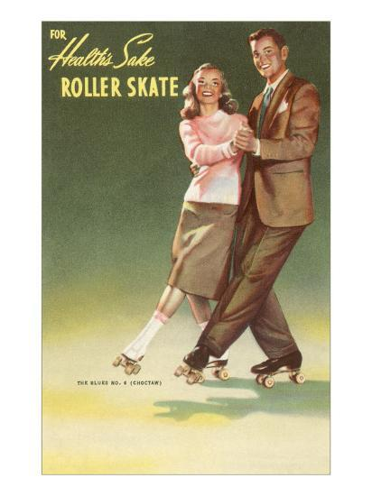 Roller Skating Couple--Art Print