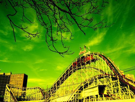 Rollercoaster, the Cyclone Rollercoaster, Astroland, Coney Island, Brooklyn, New York City--Photographic Print