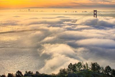 Rolling In, Sunshine and Fog at Golden Gate Bridge, San Francisco Bay Area-Vincent James-Photographic Print