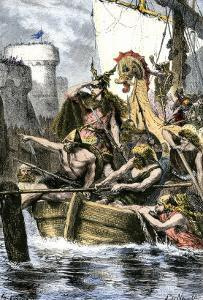 Rollo the Ranger Attacking Paris from Viking Ships on the River Seine, 885 Ad