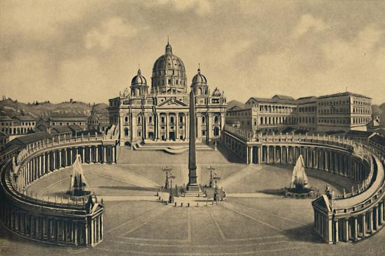 'Roma - Basilica and Square of S. Peter. Vatican Palace', 1910-Unknown-Giclee Print