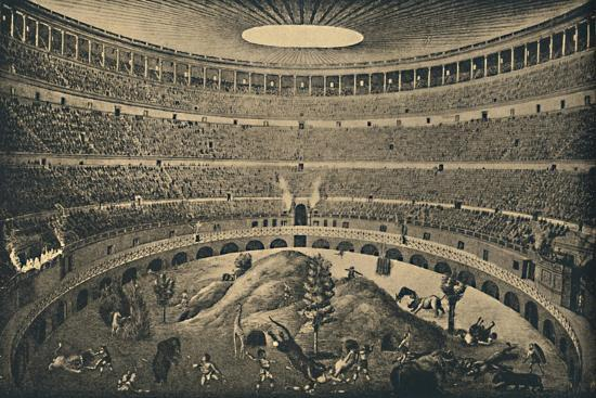 'Roma - Colosseum - Reconstruction of a hunt of wild animals', 1910-Unknown-Giclee Print
