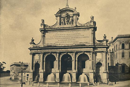 'Roma - Fountain of the aquaduct of Paul V, erected from the designs of Fontana in 1612', 1910-Unknown-Photographic Print