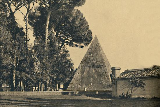 'Roma - Sepulchal pyramid of Caius Caestius - Gate of Saint Paul on the Ostia road', 1910-Unknown-Photographic Print