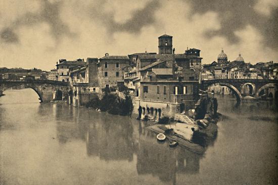 'Roma - Tiberine Island and the ancient Bridges Caestius and Fabritius', 1910-Unknown-Photographic Print