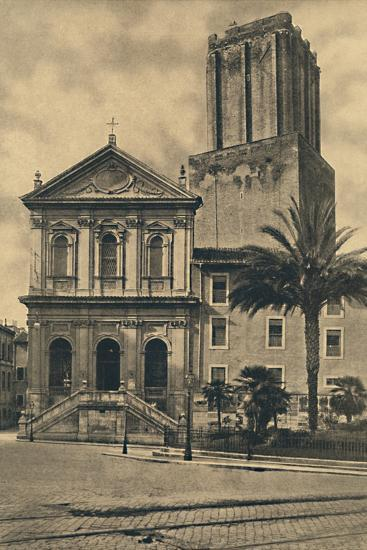 'Roma - Via Nazionale. Church of St. Catherine and the Tower of the Militie', 1910-Unknown-Photographic Print