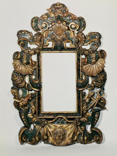 Roman 17th C. Carved Black and Gilt Baroque Frame with Pierced Band of Profuse Scrolling Strapwork--Giclee Print