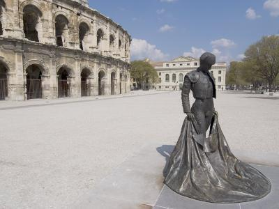 Roman Arena with Bullfighter Statue, Nimes, Languedoc, France, Europe-Ethel Davies-Photographic Print