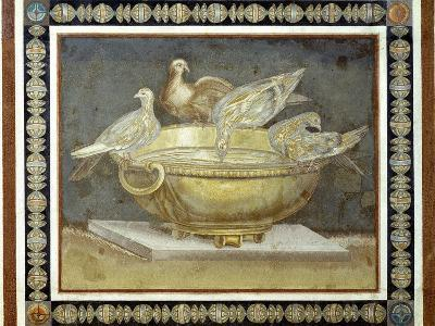 Roman Art : Four Doves Drinking from a Golden Basin--Photographic Print