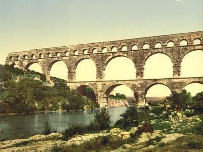Roman Bridge over the Gard, Constructed by Agrippa, Nîmes, France, C.1890-C.1900--Giclee Print