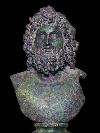 Roman bronze bust of the god Serapis, 4th century Artist: Unknown-Unknown-Giclee Print
