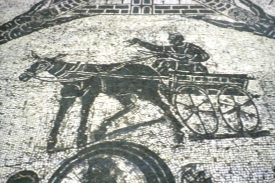 Roman Cart, Mosaic from the Frigidarium, Ostia, Italy, C150--Giclee Print
