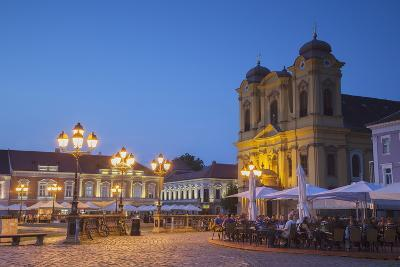 Roman Catholic Cathedral and Outdoor Cafes in Piata Unirii at Dusk-Ian Trower-Photographic Print