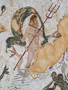 Roman city of Italica, near Santiponce, Seville Province, Andalusia, southern Spain. Mosaic of N...