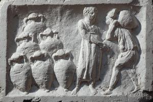Roman Civilization, Bas-Relief Depicting Roman Cellar with Amphorae Wine Ware