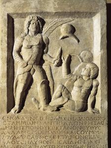 Roman Civilization, Funerary Stele with Relief Depicting Gladiator Fight, from Amisos, Turkey