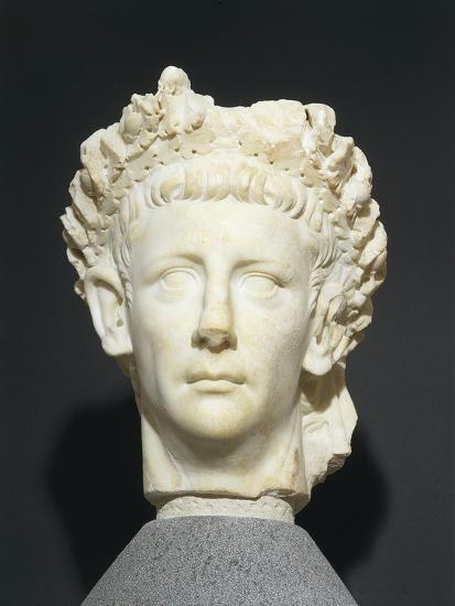 Roman Civilization Head of Claudius Wearing Civic Crown of Oak Leaves. from Roselle--Giclee Print