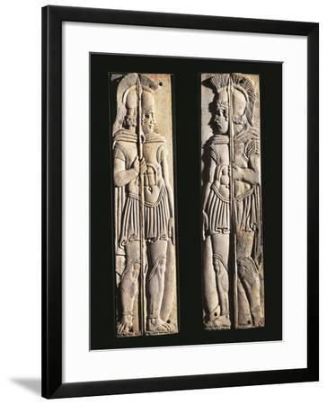 Roman Civilization, Pair of Bone Carvings of Warriors, from Praeneste, Lazio Region, Italy--Framed Giclee Print