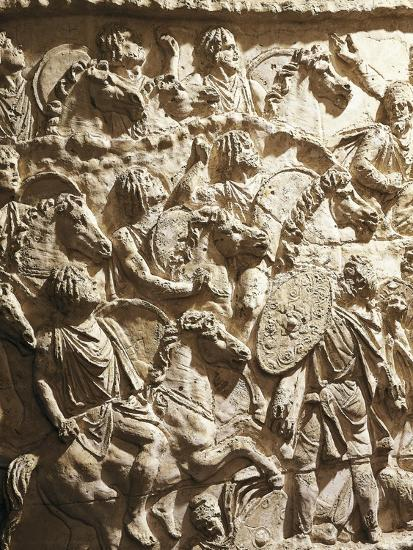 Roman Civilization, Plaster Cast of Trajan's Column, Mauritanian Horsemen--Giclee Print