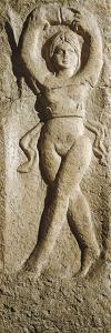 Roman Civilization, Relief Portraying Female Dancer, from Pest, Hungary