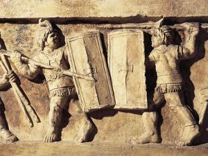 Roman Civilization, Relief Portraying Gladiator Fight, from Preturo, L'Aquila Province, Detail