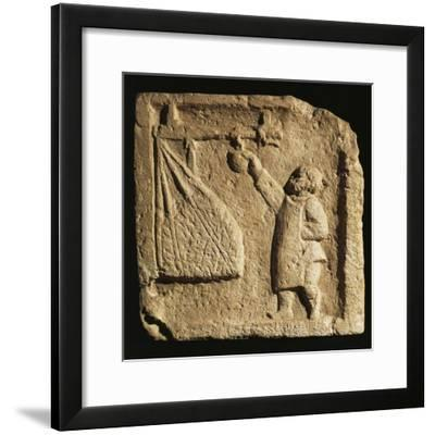 Roman Civilization, Relief Portraying Merchant Weighing Large Sack--Framed Giclee Print