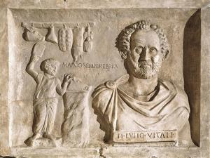 Roman Civilization, Sign for Tiberius Julius Vitale'S, Relief from Villa Albani, Rome