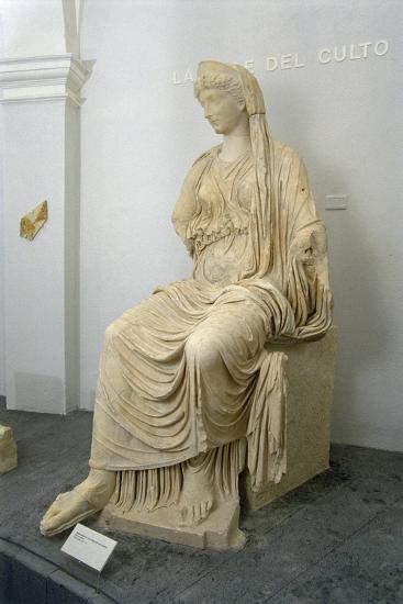 Roman Civilization Statue of Seated Livia Portrayed as Ceres from Roselle--Giclee Print
