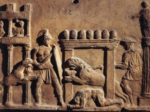 Roman Civilization, Terracotta Relief Depicting Hunting Scene in Circus