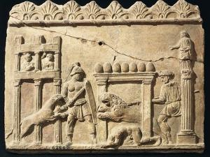 Roman Civilization, Terracotta Relief Depicting Lions and Gladiators Fighting in Circus
