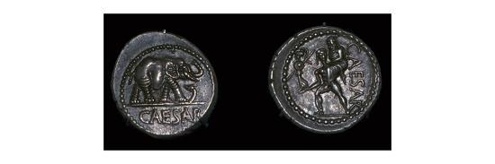 Roman coins of Julius Caesar, 1st century BC. Artist: Unknown-Unknown-Giclee Print