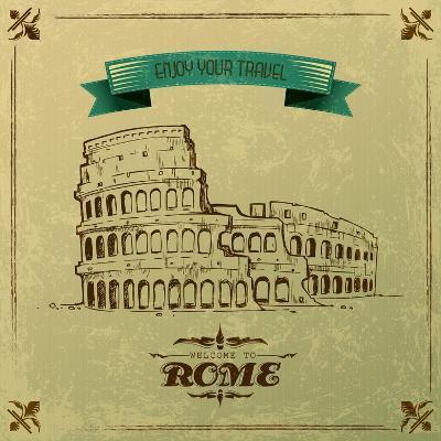 Roman Colosseum For Retro Travel Poster-stockshoppe-Art Print