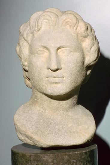 Roman copy of a lost Greek original bust of Alexander the Great, 350 BC. Artist: Unknown-Unknown-Giclee Print