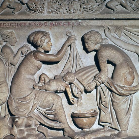 Roman depiction of bathing a baby. Artist: Unknown-Unknown-Giclee Print