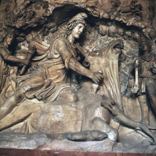 Roman depiction of Mithras killing the bull, 3rd century. Artist: Unknown-Unknown-Giclee Print