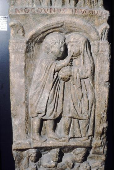 Roman doctor inspecting eye of a woman, relief on gravestone, from house near Naix, France-Unknown-Giclee Print