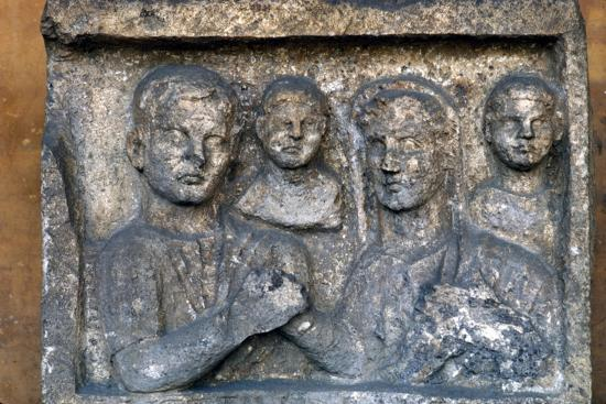 Roman Family on a grave-slab-Unknown-Giclee Print